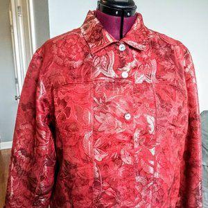 Chico's Red Metallic Silk Jacquard Jacket